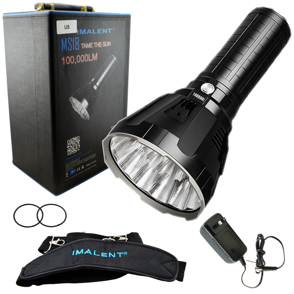 Imalent MS18 Rechargeable Flashlight 100,000 Lumens LED Light w/ Strap & Charger