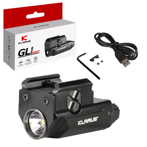 Klarus GL1 Micro Pistol Light 600 Lumen LED Flahslight (Black)