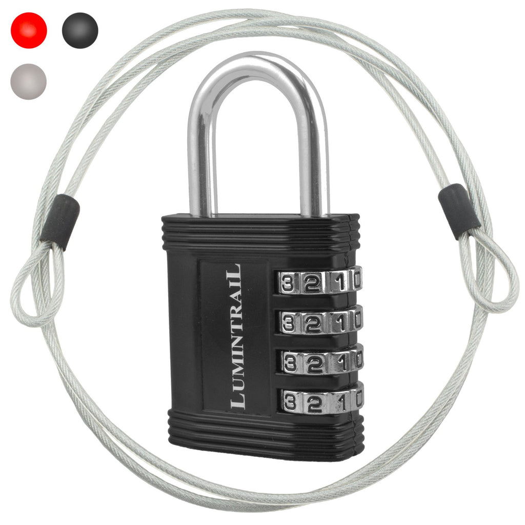 Padlock with Steel Security Cable and Set-Your-Own Combination