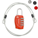 Travel Lock with Steel Cable TSA Approved Red