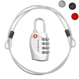 Travel Lock with Steel Cable - TSA Approved 4 Digit Combination