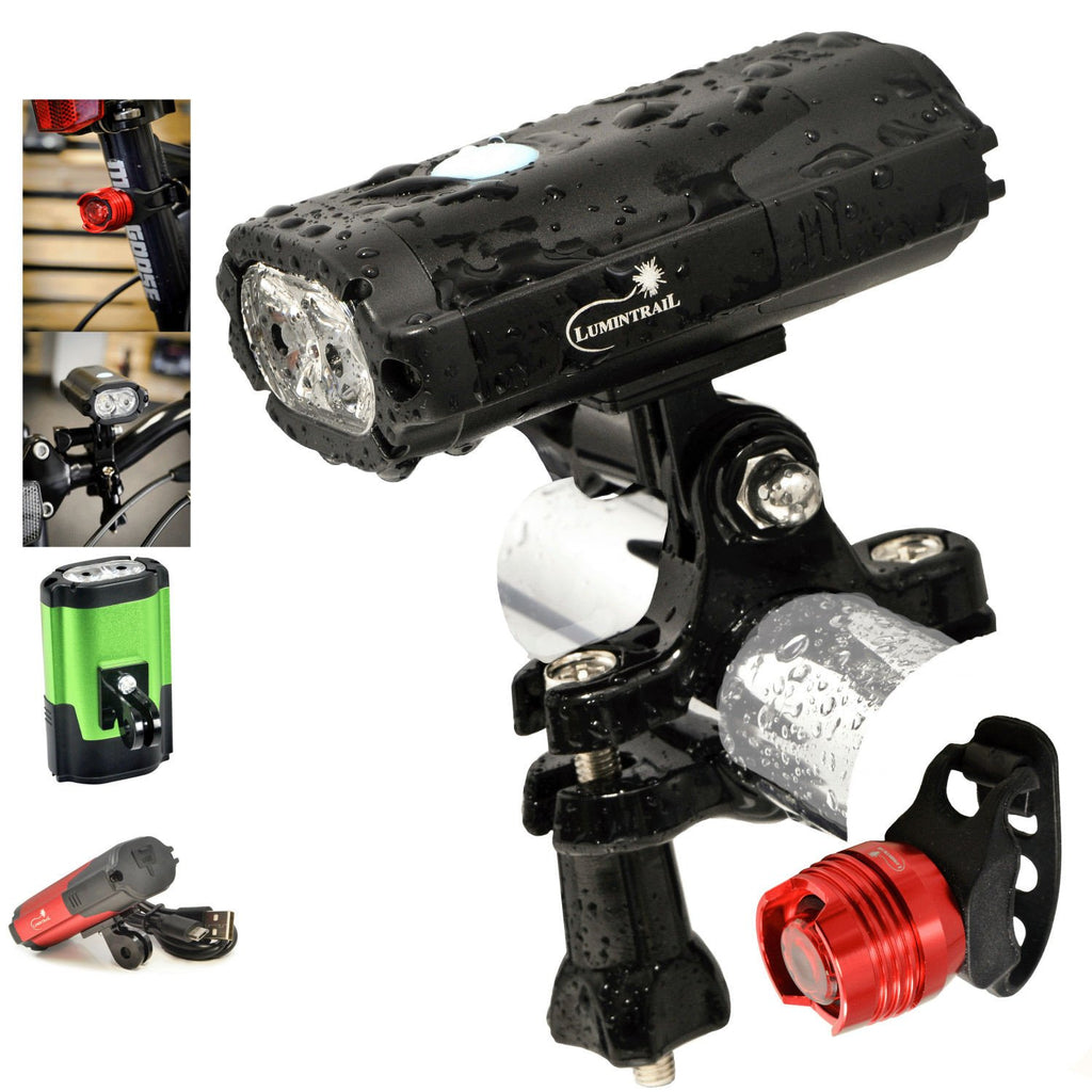 Bike Head Light with Tail Light 800 LED Lumen