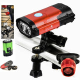 Rechargeable 800 Lumen LED Bike Headlight - Red