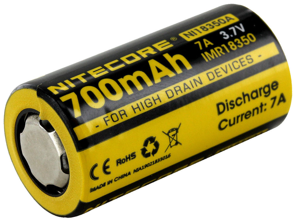 Nitecore 700mAh IMR 18350 Rechargeable Battery