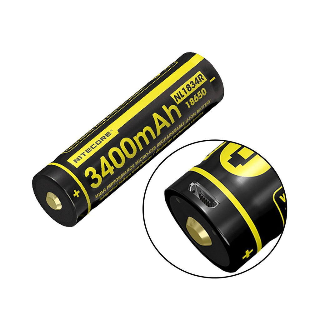 Nitecore NL1834R 3400mAh High-Drain 3.6 V 18650 Battery - USB Charging Port