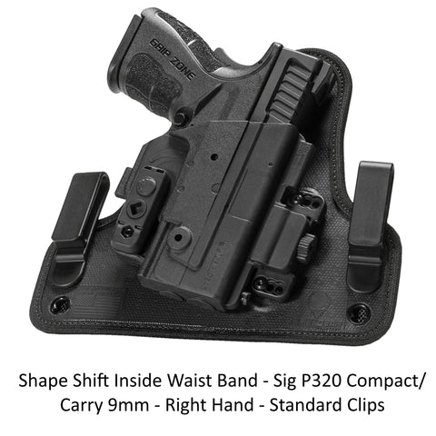 Alien Gear Holsters Shape Shift Inside Waist Band Sig P320 Compact/Carry 9mm -RH