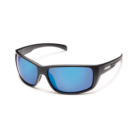 Suncloud Milestone Large Fit Sunglasses Matte Black with Polar Blue Mirror Lens