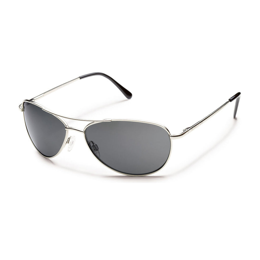 Suncloud Patrol Medium Fit Sunglasses Silver Frame with Polar Gray Lens