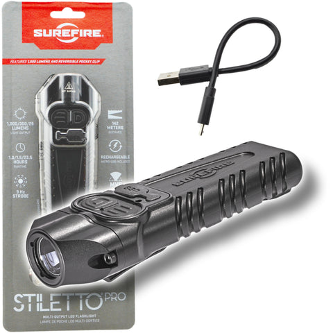 SureFire Stiletto PRO PLR-B Multi-Output Rechargeable Pocket Flashlight 1000 Lumens