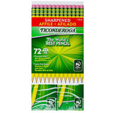 Ticonderoga #2 HB Sharpened 72 Pencils Premium Wood Latex-Free Eraser Dixon