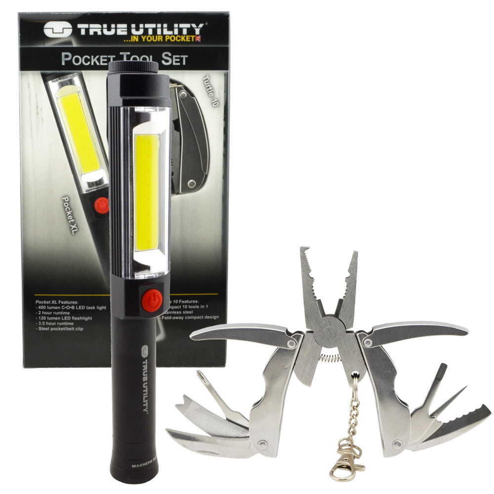 True Utility Pocket Tool Set 400 Lumen Task Light Flashlight and 10 in 1 Multi Tool