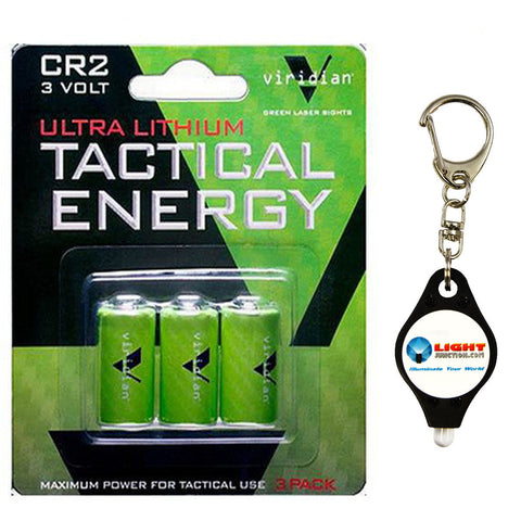Viridian CR2 3v 3 Lithium Batteries with Free Keychain Light from Lightjunction