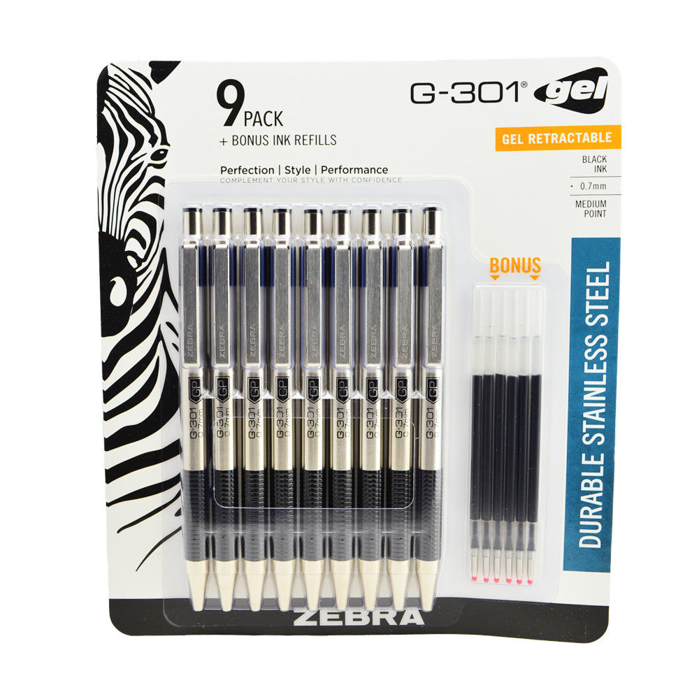 Zebra G-301 Retractable Gel Pen Stainless Steel 0.7mm Medium Point 9 per Pack with 6 Refill Cartridges