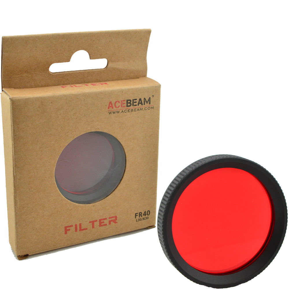 AceBeam FR40 Red Filter / Diffuser Lens for Acebeam L30 & K30 Flashlights