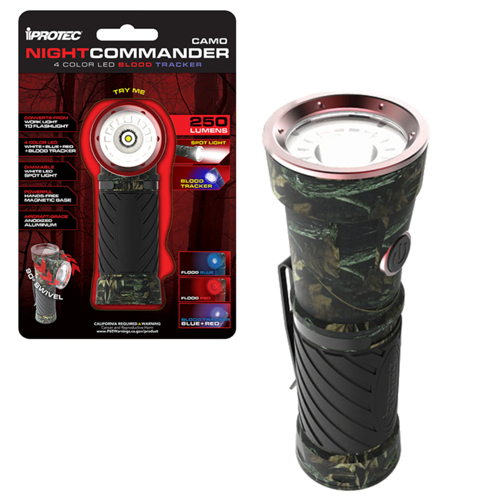 iProtec Night Commander Blood Tracker Flashlight 4 Color LED Light - Camo