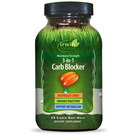 Irwin Naturals 3 in 1 Carb Blocker Appetite Control - 75 Liquid Softgels