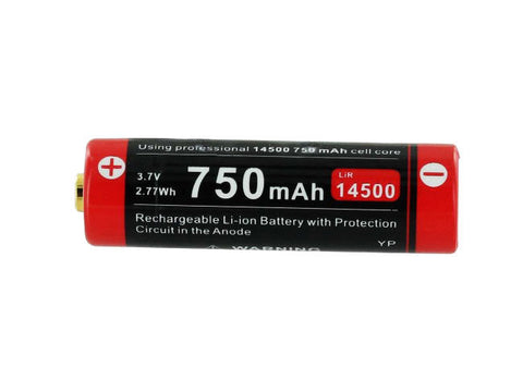 Klarus 14500UR75 Battery - 3.7V 750mAh Rechargeable Li-ion - Button-Top