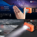 Klarus HC1-S Headlamp 300 Lumens Waterproof Dual Lamp w/ Motion Control