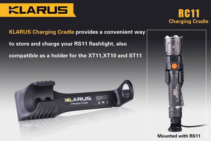 NEW Klarus RC11 CRADLE for RS11 Flashlight and Holder for XT11, XT10