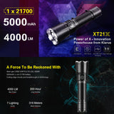 Klarus XT21X Tactical Flashlight, Rechargeable LED Light 4000 Lumens