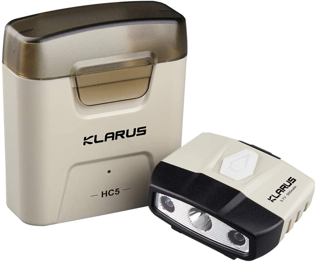 Klarus HC5 120 Lumens Tiny Hands-Free Clip on Hat Light with Charging Case