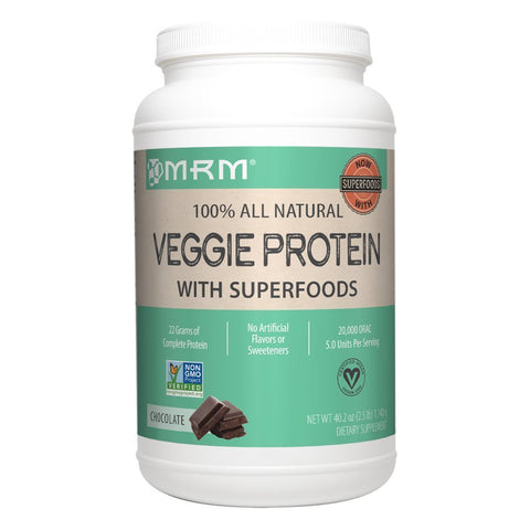 MRM Veggie Protein Powder with Superfoods, Vegan & Non-GMO Chocolate 40.2 oz