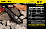 Nitecore EC25 Cobra CREE XM-L U2 860 Lumen Flashlight