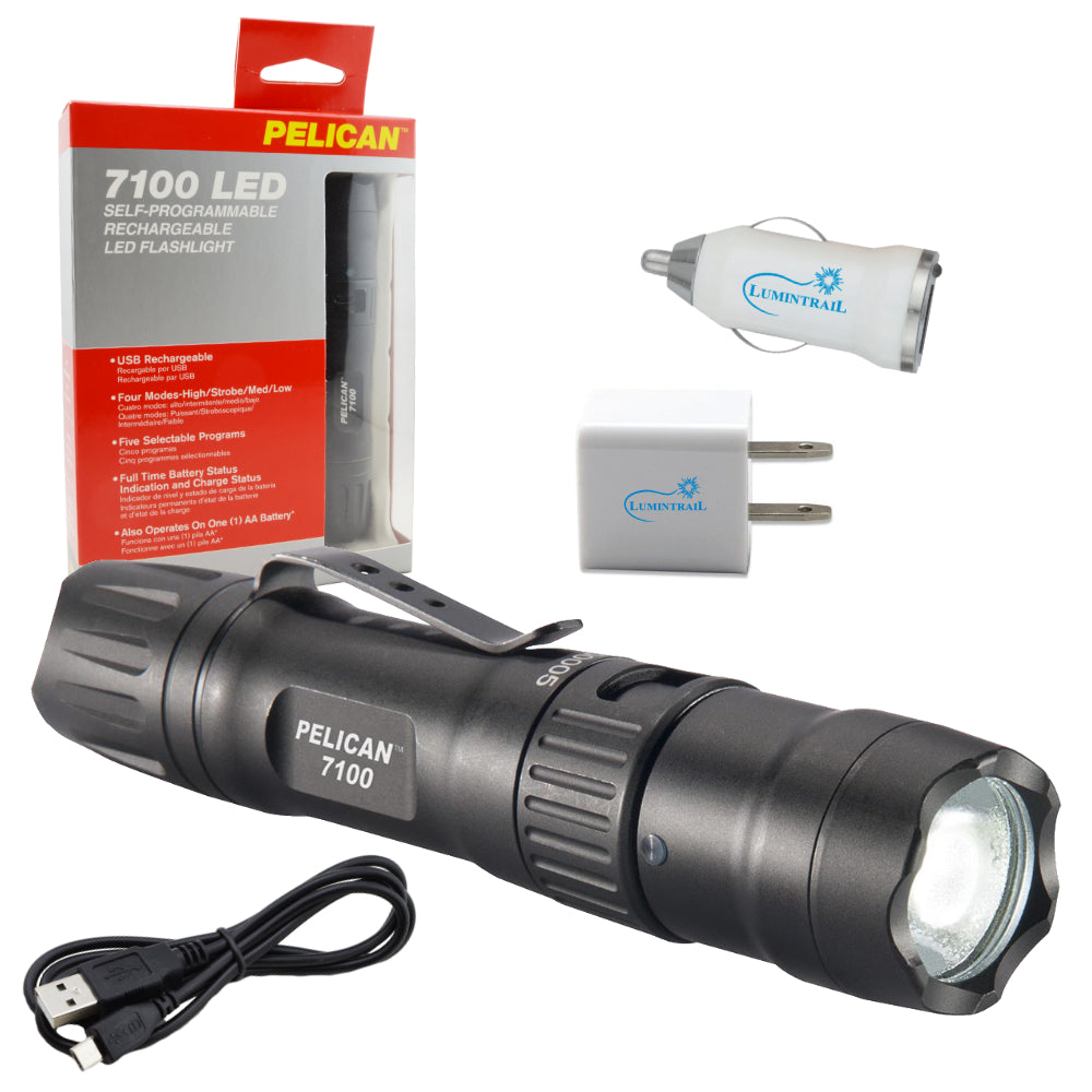 Pelican 7100 Tactical Rechargeable Flashlight LED Light (Black) w/ USB Adapters