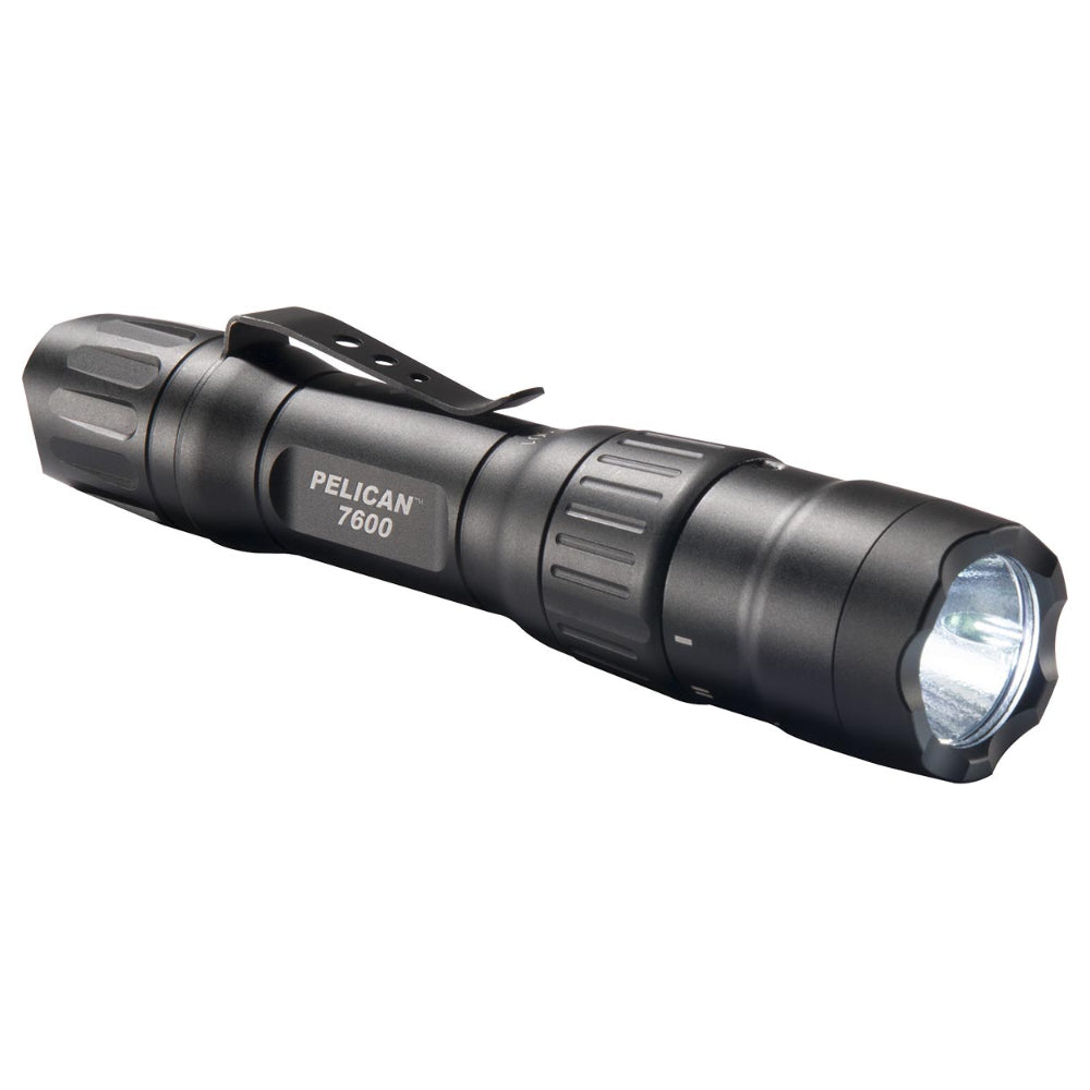 Pelican 7600 Tactical Flashlight, Rechargeable Multi-Color LED Light, Black