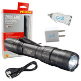 Pelican 7600 Rechargeable Flashlight, Multi-Color LED Light w/ USB Adapters