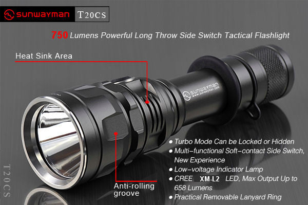 T20CS NEW XM-L2 LongThrowSideSwitch Tactical Flashlight