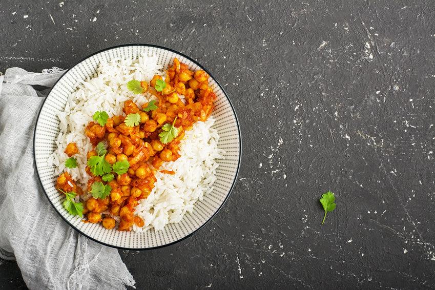 Healthy Chickpea Tomato Curry Dish with Rice