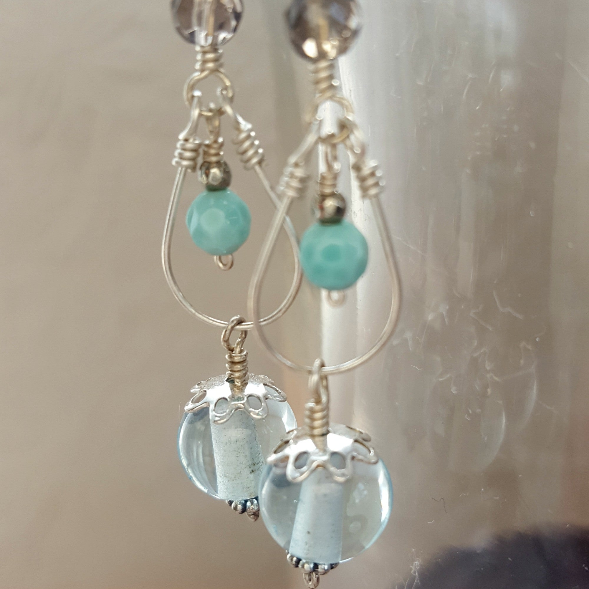 Pale Aqua Mini Chandelier Earrings Donna Sauers Designs