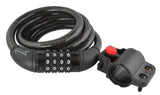 Combination Bike Lock with Self Coiling Steel Cable and Mount