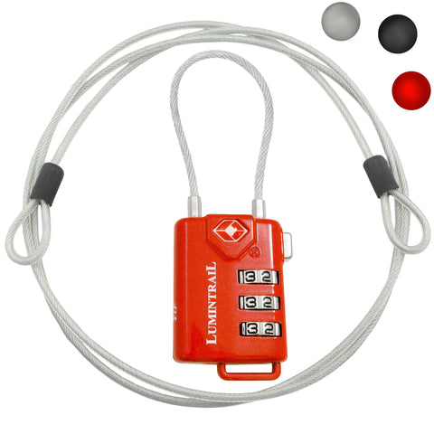 Travel Lock TSA Approved 3 Digit Combination with Steel Cable