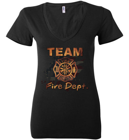 Team Fire Dept. Bella Ladies Deep V-Neck