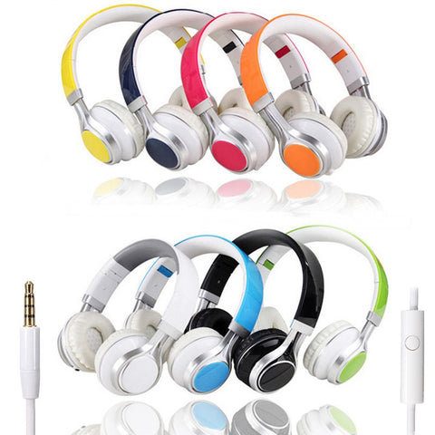 Foldable Headphones 3.5mm Headset With Mic Audio (Many Colors)