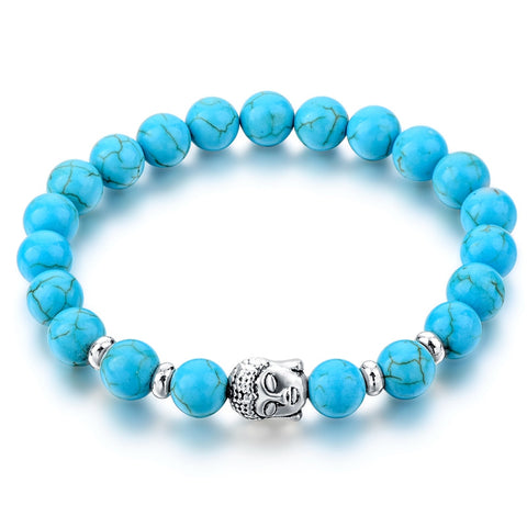 Lava Natural Stone Bead Buddha Bracelets For Women and Men (14 colors)