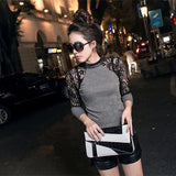 Women's Lace Long Sleeve Shirt Slim Knitwear Leather Crew Neck