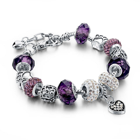 Crystal Beads Bangles Silver Plated Charm Bracelets For Women (12 colors)