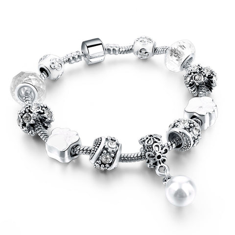 Silver Plated Bracelets & Bangles With Simulated Pearl Charms Dog Paws