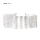 Elegant Wide Crystal Rhinestone Choker Necklace Women Fashion