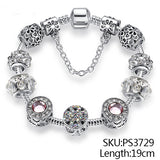 Women's Silver Crystal Beads Charms Bracelet Snake Chain