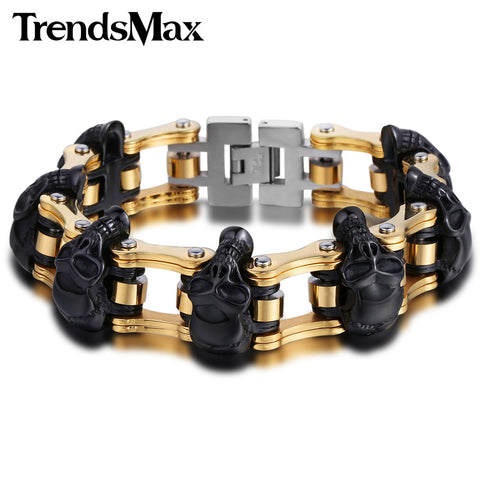 Mens 18mm/22mm Skulls Biker Motorcycle Stainless Steel Bracelet