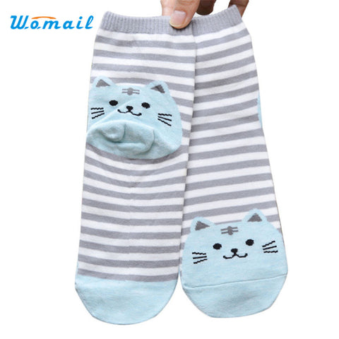 3D Animals Striped Cartoon Cat Cotton Socks for Women