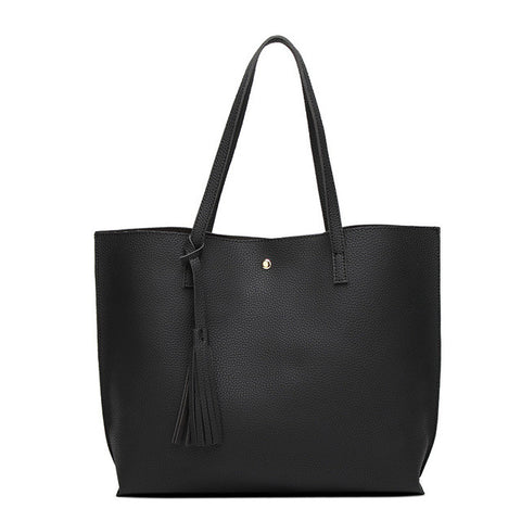 High Quality Luxury Ladies Soft Leather Shoulder Tassel Tote Handbags