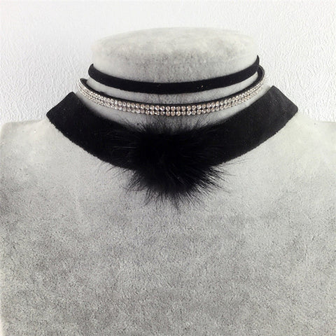 Vintage Velvet Choker Necklaces For Women 3 Pc