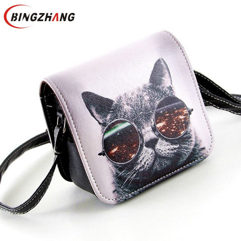 Women's PU Leather Cat Wearing Big Glasses Shoulder Handbags