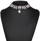 Vintage Classic Choker Necklace Full Crystal Pendant Necklace
