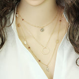 17KM Fashion Multi Layer Leaf Chain Necklaces Bohemian Blue Stone Choker
